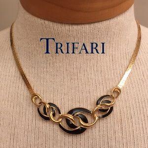 Trifari Gold Herribone Chain Black Enamel Design